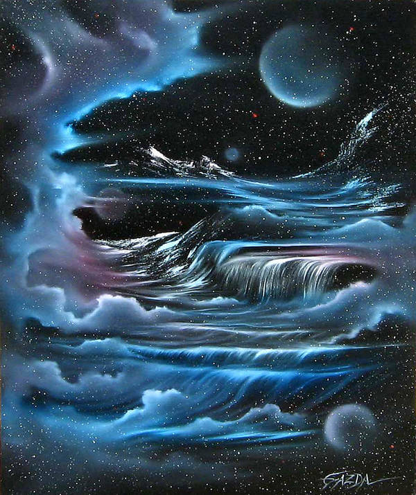 Visionary Poster featuring the painting Planetary Falls by David Gazda