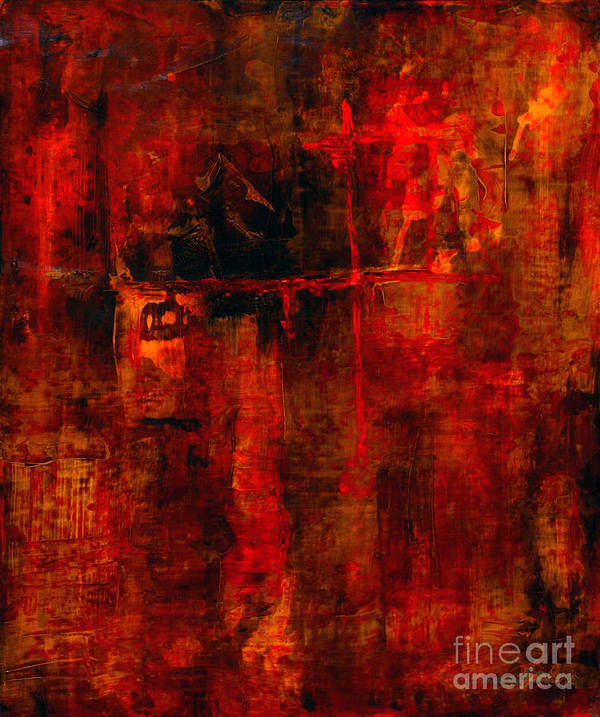 Abstract Painting Poster featuring the painting Red Odyssey by Pat Saunders-White