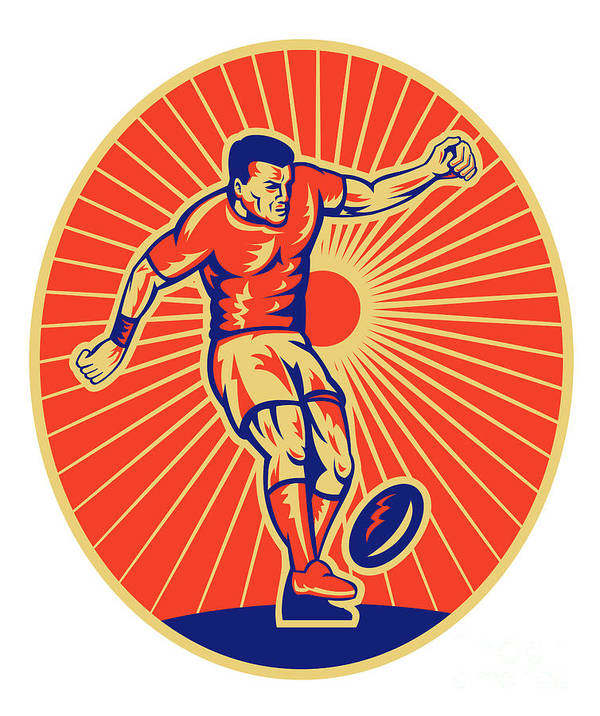 Rugby Poster featuring the digital art Rugby Player Kicking Ball Woodcut by Aloysius Patrimonio