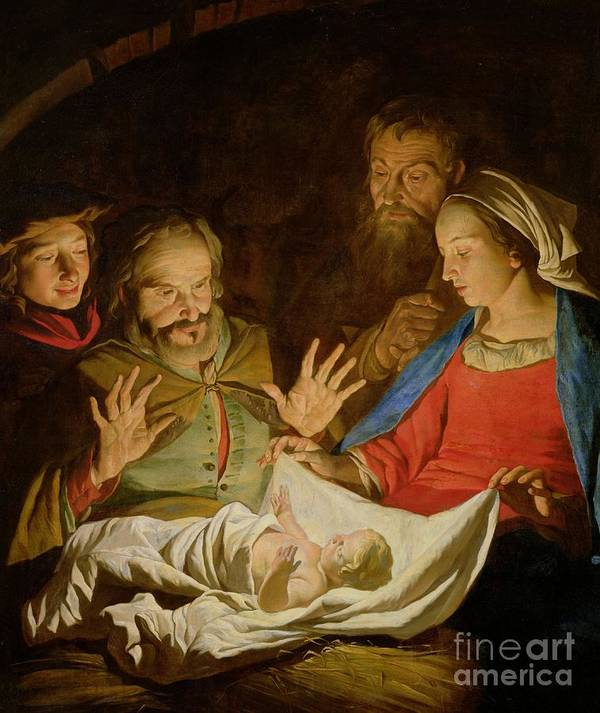 The Adoration Of The Shepherds (oil On Canvas) Poster featuring the painting The Adoration Of The Shepherds by Matthias Stomer