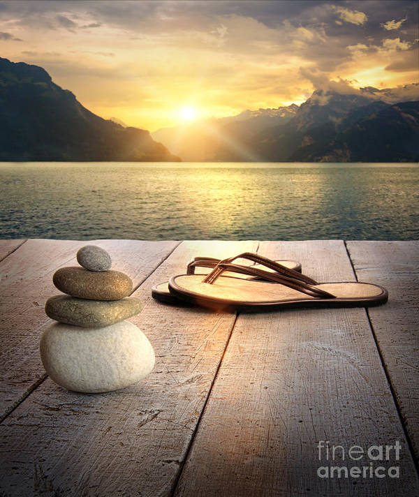 Arrangement Poster featuring the photograph View Of Sandals And Rocks On Dock by Sandra Cunningham