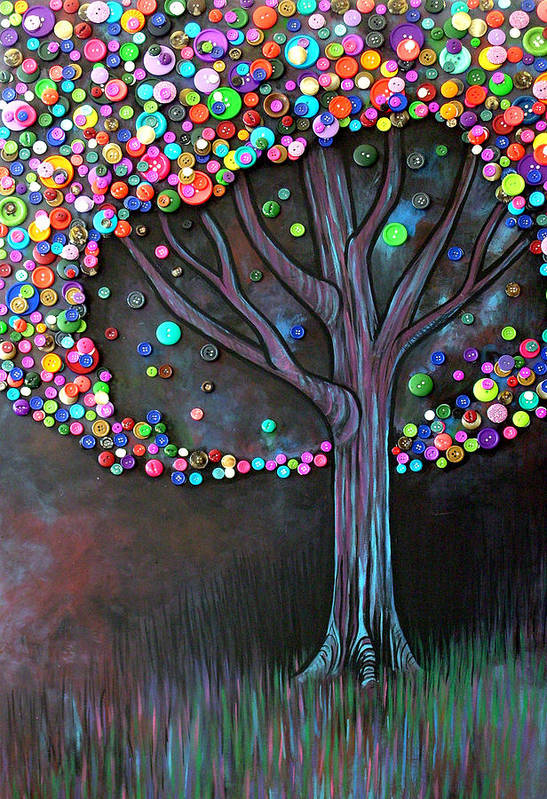Tree Poster featuring the painting Button Tree 0006 by Monica Furlow