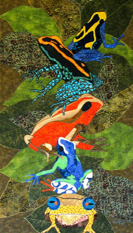 Art Quilts Tapestries - Textiles Poster featuring the tapestry - textile Poison Dart Frogs by Lynda K Boardman