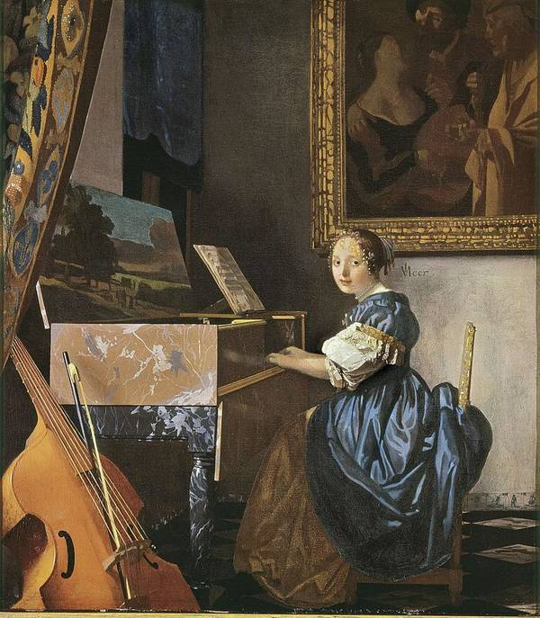 Vertical Poster featuring the photograph Vermeer, Johannes 1632-1675. A Young by Everett