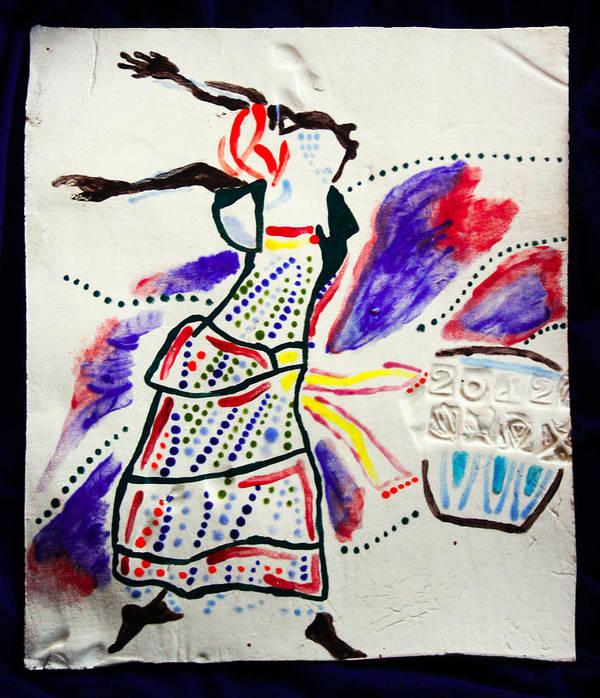 Jesus Poster featuring the ceramic art Kiganda Dance - Uganda by Gloria Ssali