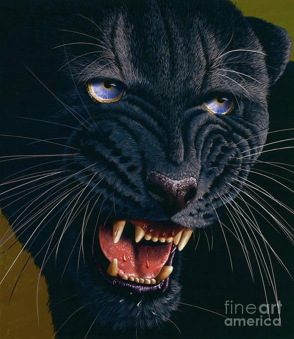 Black Panther Poster featuring the painting Black Panther 2 by Jurek Zamoyski