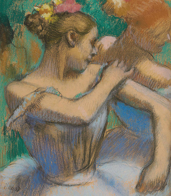Edgar Degas Poster featuring the pastel Dancer Adjusting Her Shoulder by Edgar Degas