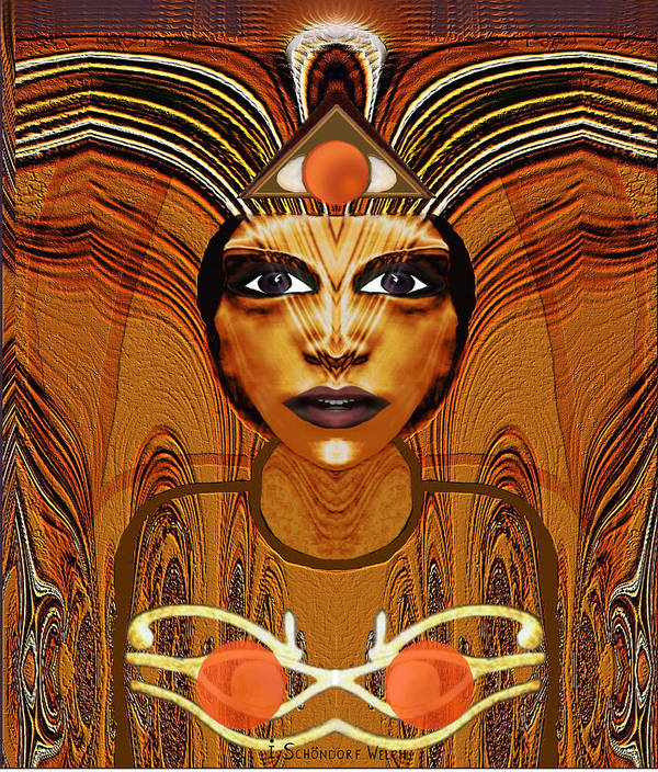 Woman Poster featuring the painting 055 - Egyptian Woman Warrior Magic  by Irmgard Schoendorf Welch