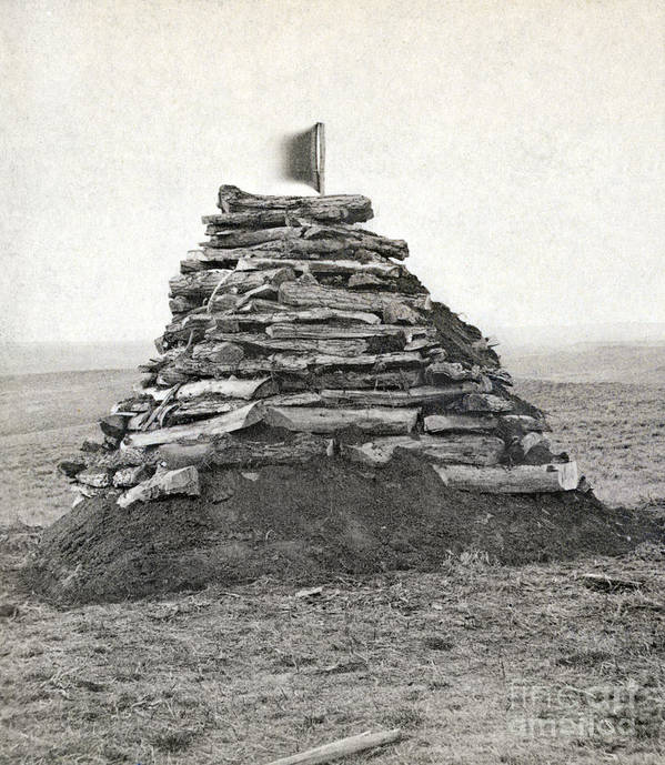 1876 Poster featuring the photograph Little Bighorn Monument by Granger