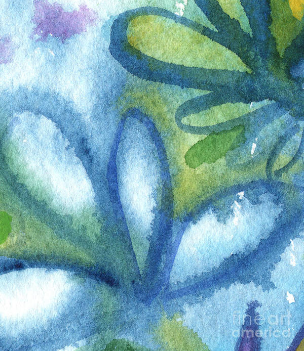 Abstract Poster featuring the painting Zen Leaves by Linda Woods