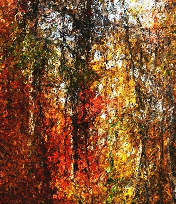 Photo Manipulation Poster featuring the digital art Autumn In The Woods by David Lane