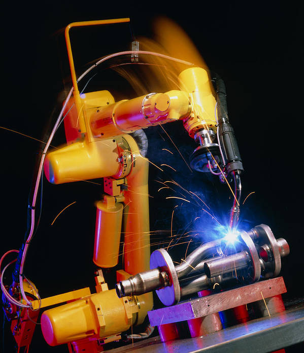Computer Controlled Robot Poster featuring the photograph Computer-controlled Arc-welding Robot by David Parker, 600 Group Fanuc
