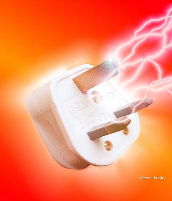 Plug Poster featuring the photograph Plug With Electric Current by Victor Habbick Visions