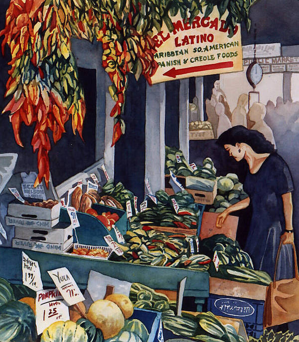 Seattle Poster featuring the painting Public Market With Chilies by Scott Nelson