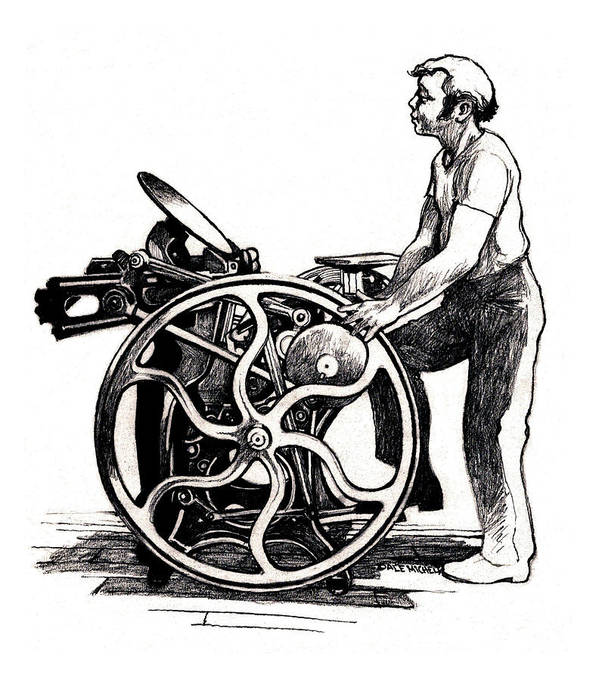 Letterpress Poster featuring the drawing Chandler And Price Old Style by Dale Michels