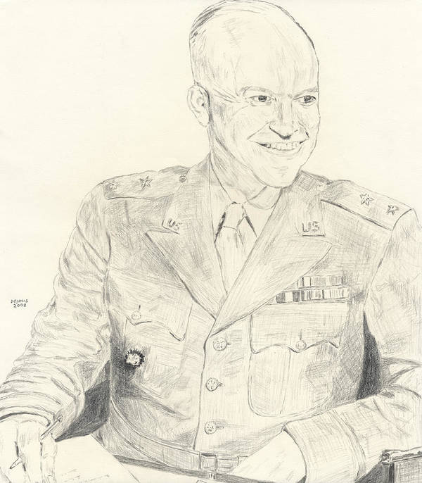 Dwight D. Eisenhower Poster featuring the drawing Dwight David Eisenhower by Dennis Larson