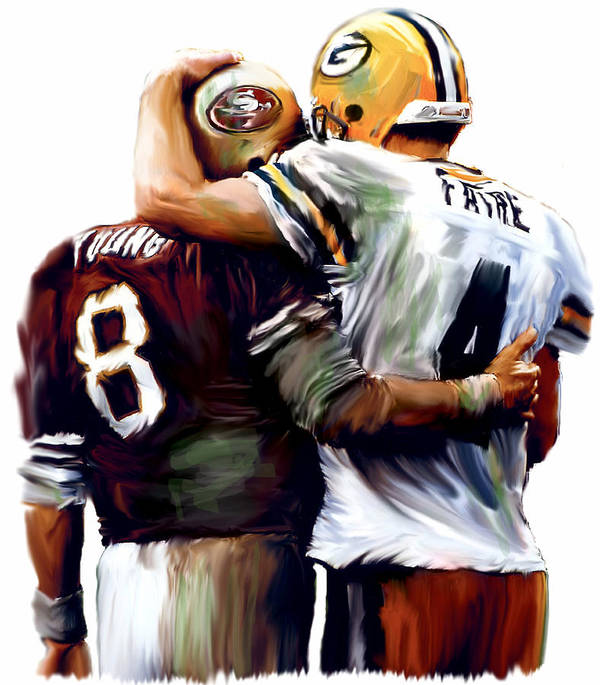 Steve Young Brett Farve Images Poster featuring the painting Greatness Brett Favre And Steve Young by Iconic Images Art Gallery David Pucciarelli