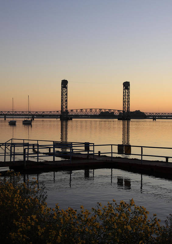 Boat Poster featuring the photograph Rio Vista Bridge And Sail Boats by Troy Montemayor