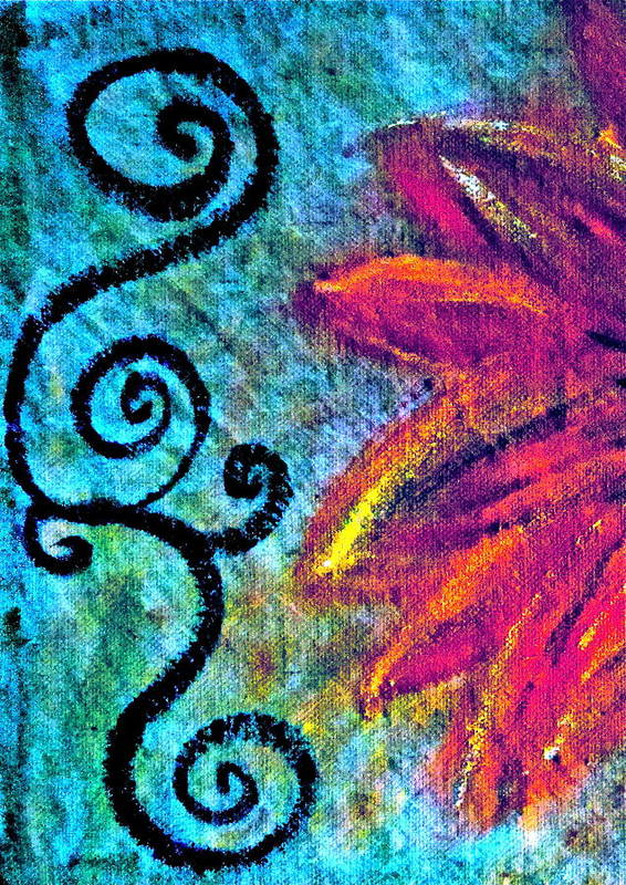 Painting Of Purple Flower Poster featuring the mixed media Sunny Day Purple by Gwyn Newcombe