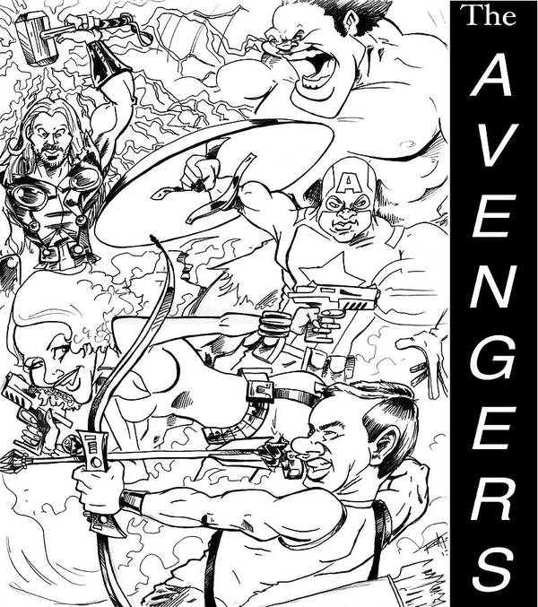 Big Mike Roate Poster featuring the drawing The Advengers by Big Mike Roate