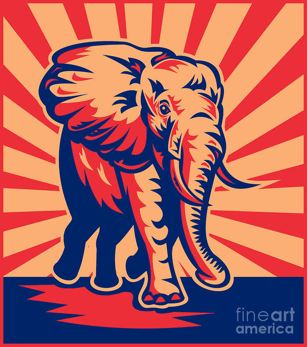 African Elephant Poster featuring the digital art African Bull Elephant Charging Retro by Aloysius Patrimonio
