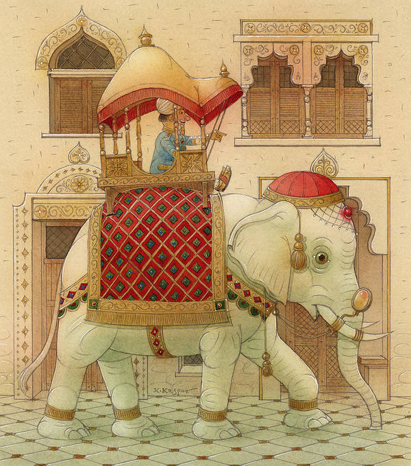 Elephant White Good Luck India King Succes Poster featuring the painting The White Elephant 01 by Kestutis Kasparavicius