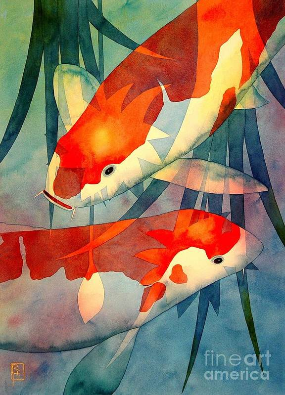 Watercolor Poster featuring the painting Koi Love by Robert Hooper