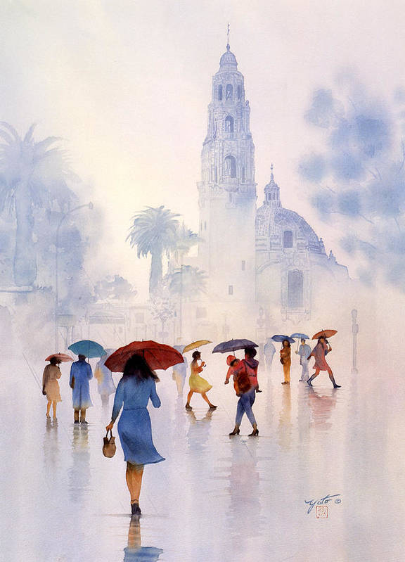 San Diego Paintings Poster featuring the painting Rain Drops by John YATO