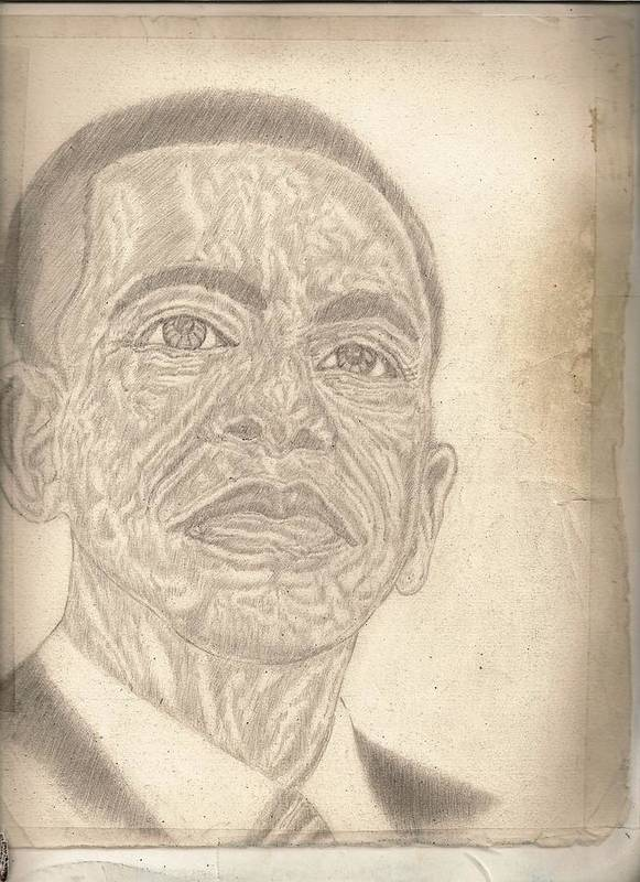 44th Poster featuring the drawing 44th President Barack Obama By Artist Fontella Moneet Farrar by Fontella Farrar
