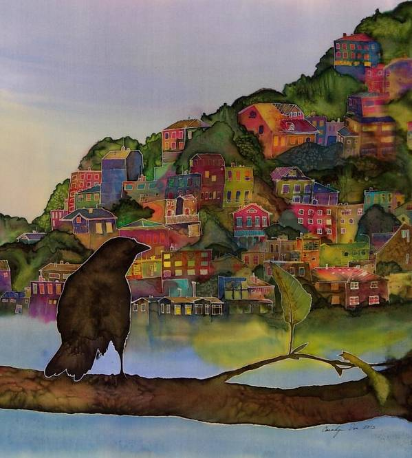 Raven Poster featuring the tapestry - textile Raven And The Village by Carolyn Doe