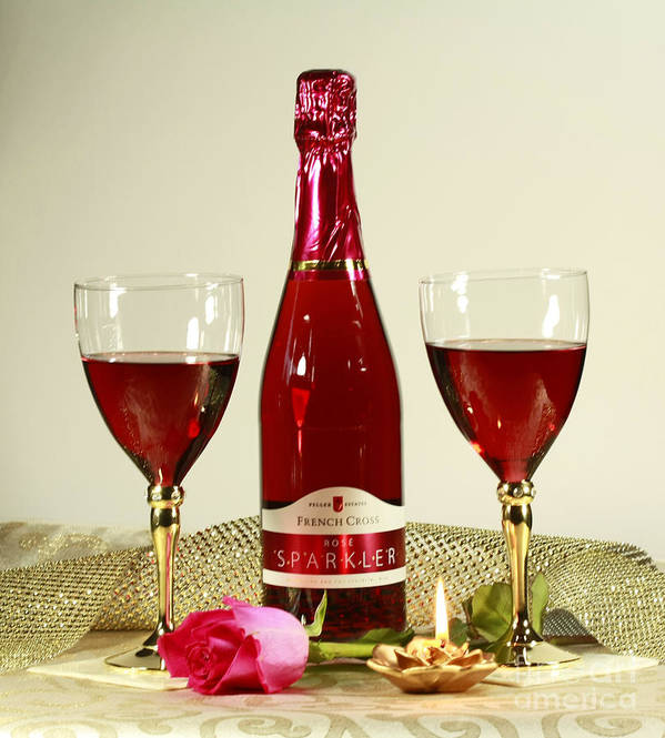 Celebrate With Sparkling Rose Wine Poster featuring the photograph Celebrate With Sparkling Rose Wine by Inspired Nature Photography Fine Art Photography