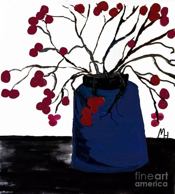 Painting Poster featuring the painting Berry Twigs In A Vase by Marsha Heiken