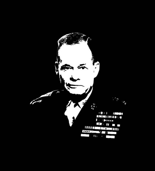 Chesty Puller Poster featuring the digital art General Lewis Chesty Puller by War Is Hell Store