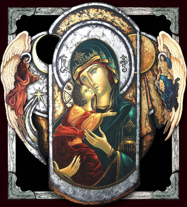 Icon Byzantine Religious Art Gold Leaf Traditional Orthodox Christian Eastern European Burn Wood Decoration Gift Resurrection Salvation Death Angel Heaven Hell Poster featuring the painting Mother Of God by Iosif Ioan Chezan