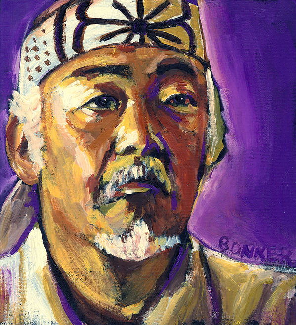 Karate Poster featuring the painting Mr Miyagi by Buffalo Bonker