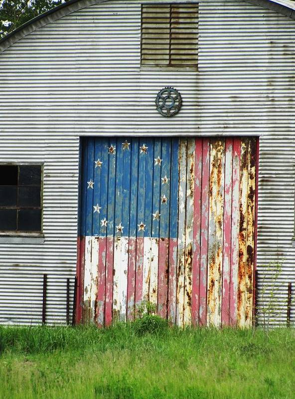 Rustic Buildings With Flag Poster featuring the photograph Flag Day 1951 by Todd Sherlock