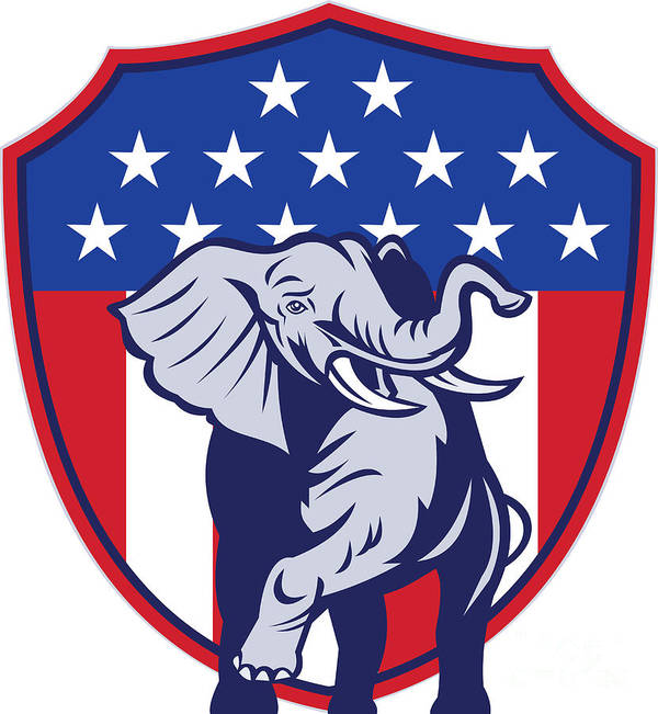 Elephant Poster featuring the digital art Republican Elephant Mascot Usa Flag by Aloysius Patrimonio