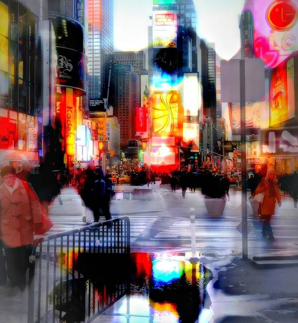 Nyc Poster featuring the photograph Tsquare Water Colors by Diana Angstadt