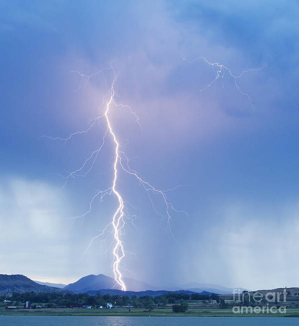 Lightning Poster featuring the photograph Twisted Lightning Strike Colorado Rocky Mountains by James BO Insogna