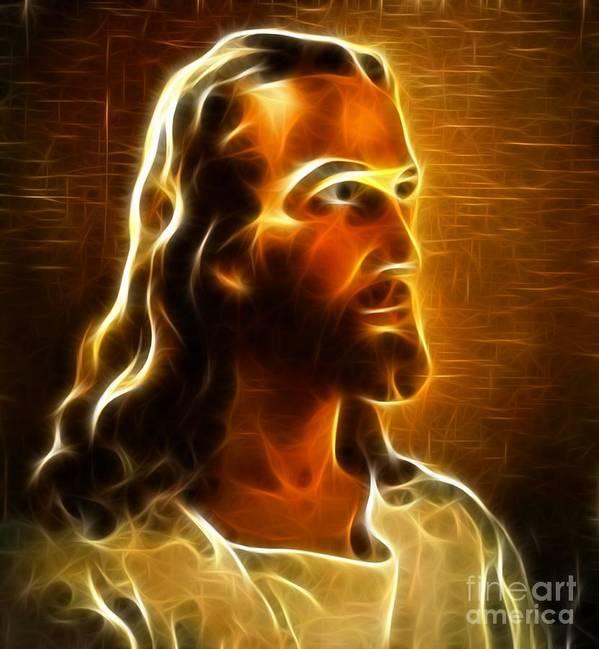 Jesus Poster featuring the mixed media Beautiful Jesus Portrait by Pamela Johnson