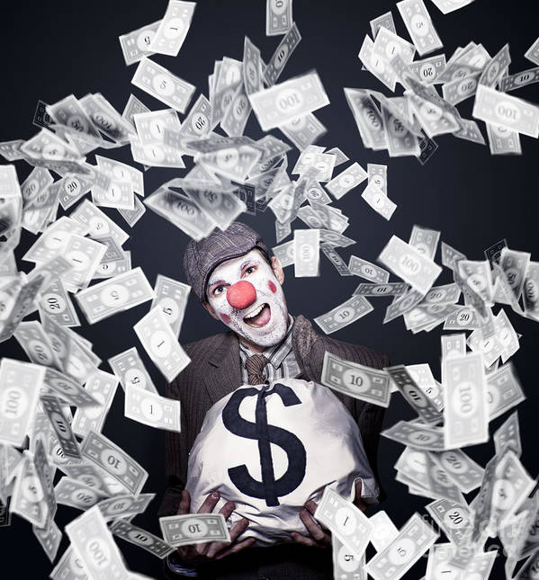 Adult Poster featuring the photograph Crazy Clown Excited To Hold A Bag Of Money by Jorgo Photography - Wall Art Gallery