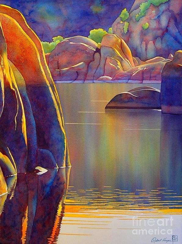 Watercolor Poster featuring the painting Morning Glow by Robert Hooper