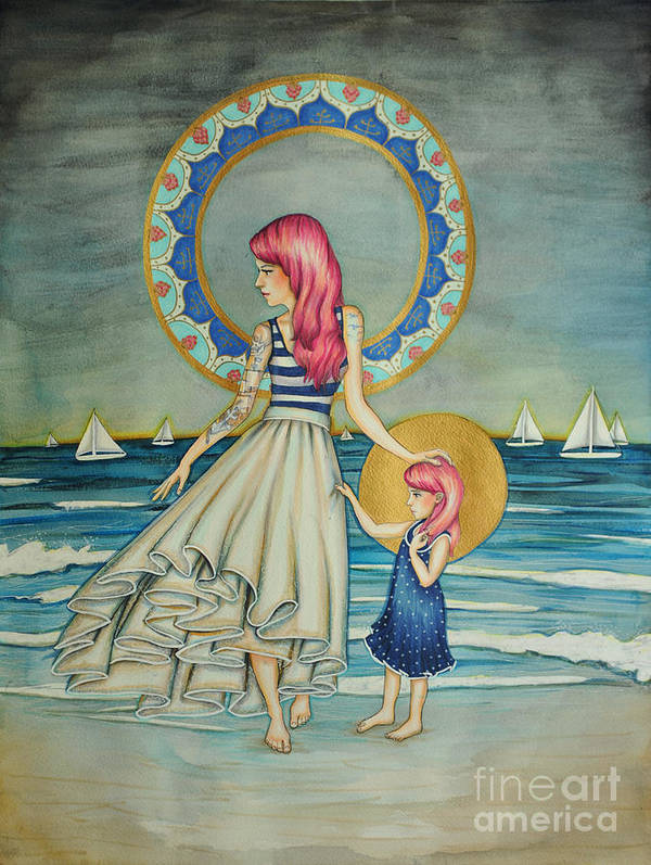 Skirt Poster featuring the drawing Sail Away by Lucy Stephens
