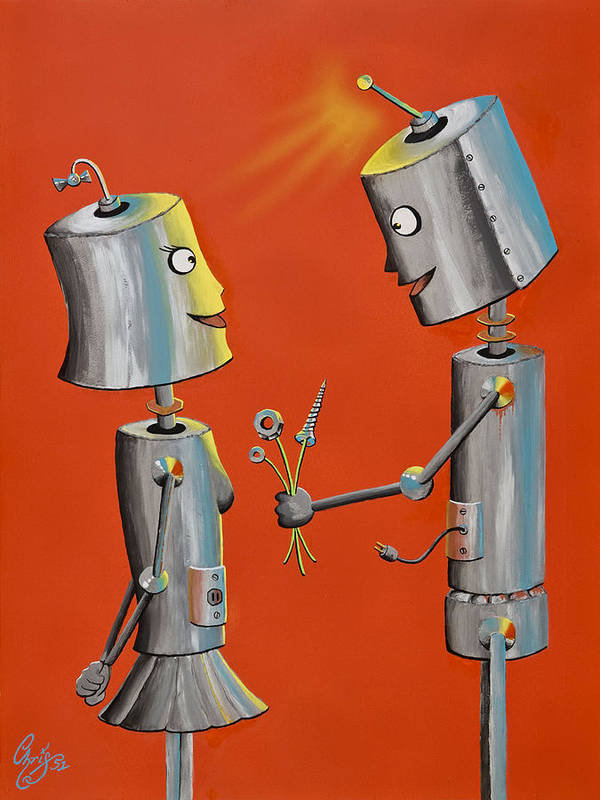 Robot Poster featuring the painting Wanna Screw by Chris Fifty-one