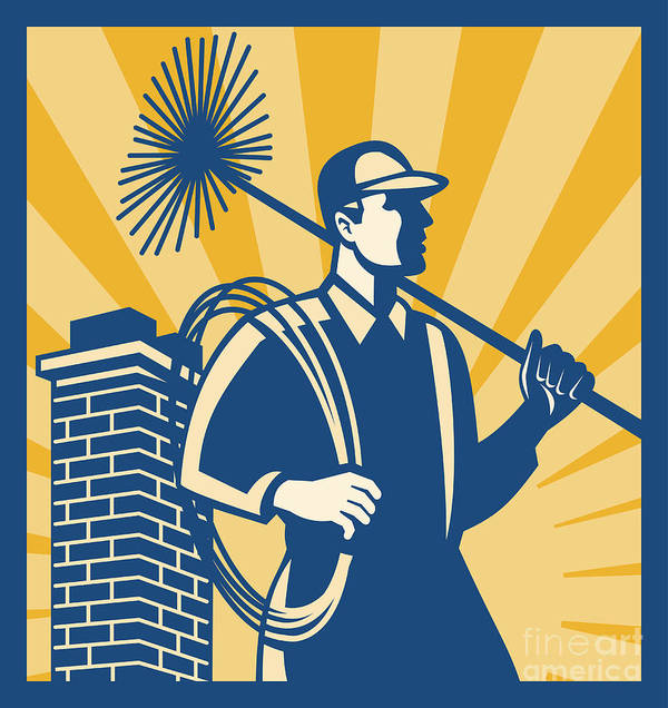 Chimney Poster featuring the digital art Chimney Sweeper Cleaner Worker Retro by Aloysius Patrimonio