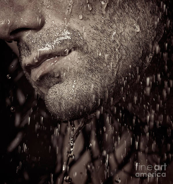 Man Poster featuring the photograph Closeup Of Mans Chin With Stubble by Oleksiy Maksymenko