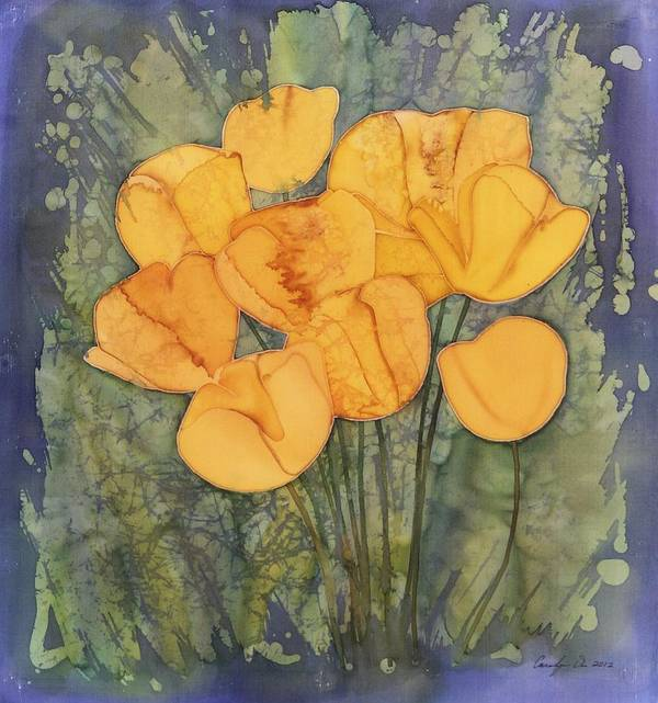 Flowers Poster featuring the tapestry - textile Yellow Tulips by Carolyn Doe