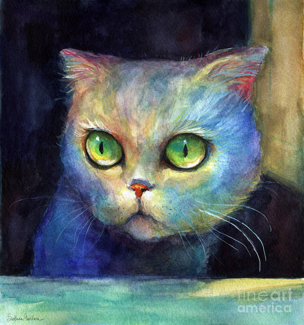 Cute Kitten Poster featuring the painting Curious Kitten Watercolor Painting by Svetlana Novikova