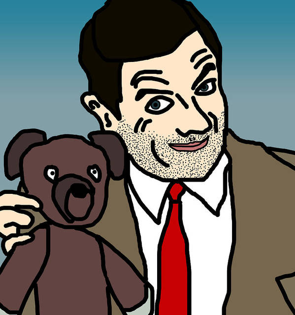 Mr Bean Poster featuring the digital art Mr Bean And Teddy by Jera Sky