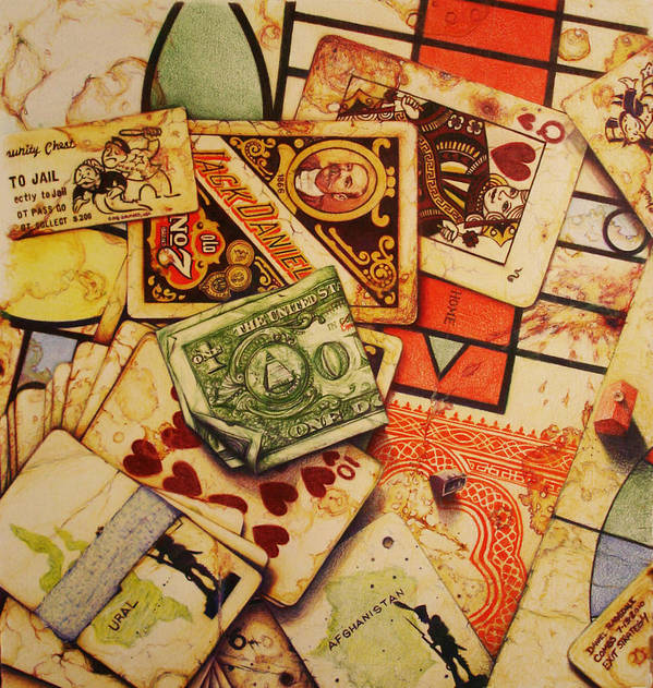 Prestine Drawing Painting Deck Of Cards Government Slaughter Miniature Statue American President National Museum Stamp Bow Down Worship China Communist Dictator Mao Slight Alterations Currency Story Deceit And Plunder Number Idiosyncrasies' Piece Different Twist Poster featuring the drawing Exit Strategy by Daniel Ragsdale Combs